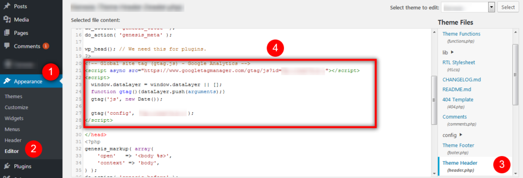 Google Analytics Tracking Code Manually to WordPress