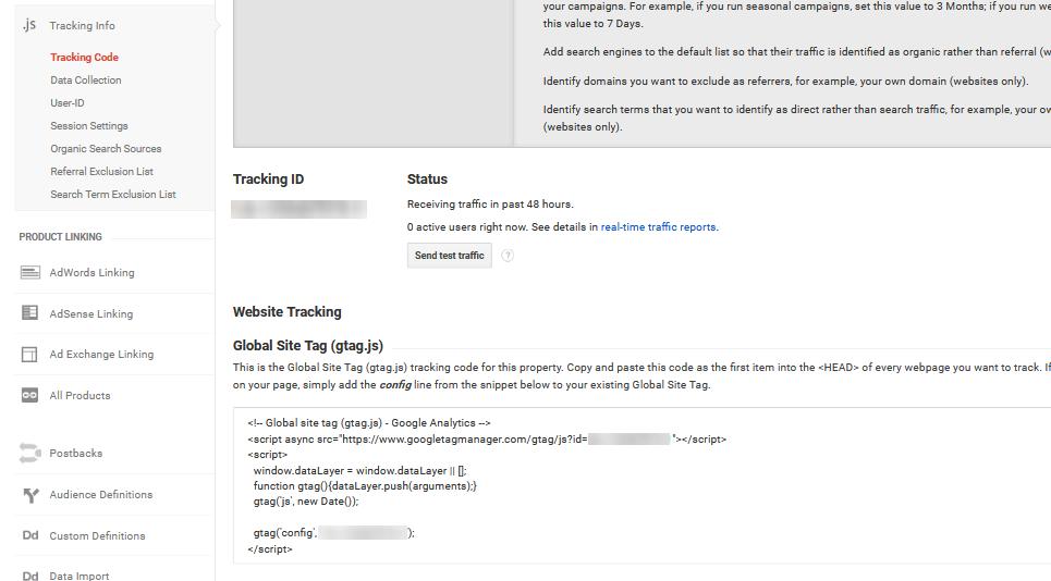 Google Analytics wordpress track ID