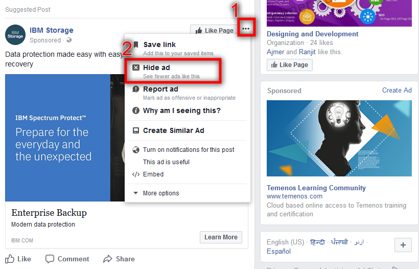 how to get rid of Specific facebook ads on Facebook