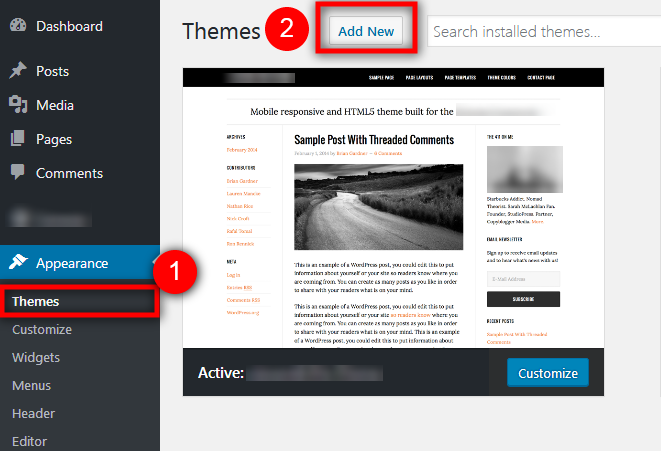 install WordPress Theme using Admin Panel
