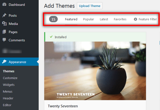 select and install WordPress Theme with filter option